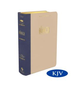 Platinum Remnant Study Bible KJV - LARGE Print (Genuine Top-grain Leather Blue and Taupe)
