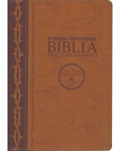 La Biblia De Estudio Remnant Piel Regenerada Fuerzas Especiales Café RVR60 - Spanish Remnant Study Bible Bonded Leather Special Forces Brown