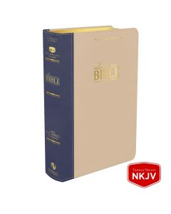 Platinum Remnant Study Bible NKJV - LARGE Print (Genuine Top-grain Leather Blue and Taupe)